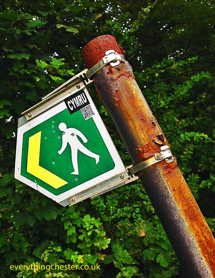 Green Walking Sign Saltney Ferry River Dee Chester